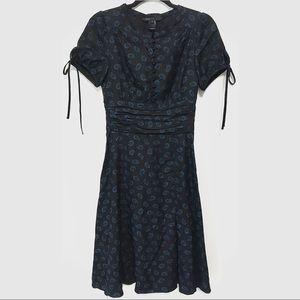 Marc Jacobs Silk Floral Midi Dress Flower Black 6